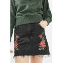 Retro Fashion Floral Embroidered Summer's Mini Bodycon Denim Skirt