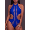 Fashion Hollow Out Halter Neck Sleeveless Plain Slim One Piece Swimwear