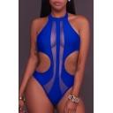 Fashion Hollow Out Halter Neck Sleeveless Plain Slim One Piece Swimwear