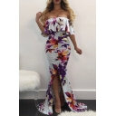 Sexy Off The Shoulder Ruffle Hem Chic Floral Printed Split Front Maxi Bodycon Fishtail Dress