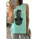 Hot Fashion Round Neck Sleeveless Pineapple Printed Casual Loose Tank Tee