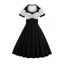 Retro Square Neck Short Sleeve Polka Dot Printed Midi Flare Dress