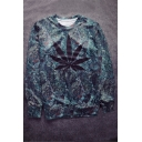New Arrival Leaf Printed Round Neck Long Sleeve Casual Pullover Sweatshirt