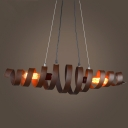 28 Inches Wide Wrought Iron 2 Light Stacked LED Pendent in Rust Finish