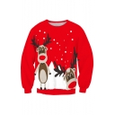 Christmas Deer Pattern Round Neck Long Sleeve Unisex Comfort Sweatshirt