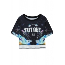 Round Neck Short Sleeve Universe Octopus Printed Loose Cropped T-Shirt