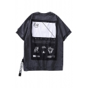 Letter Print Patched Back Fake Two-Piece Round Neck Casual Loose T-Shirt