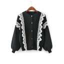 Chic Lace Inserted Round Neck Long Sleeve Comfort Knit Buttons Down Cardigan