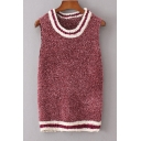 Color Block Striped Printed Round Neck Sleeveless Pullover Sweater Tank
