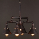 Industrial Water Pipe Chandelier in Rust Iron with Cone Shade 5 Lights