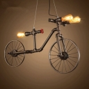 Industrial Creative Bicycle Multi-Light Pendant in Bronze Finish, 3 Lights
