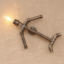Industrial Plane Style Wall Sconce in Bronze Finish, 7.8'' Width