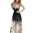 Fashion Tie Dye Tiger Pattern Sexy Plunge Neck Sleeveless Maxi Beach Dress