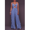 Sexy Spaghetti Straps Hollow Out Striped Print Wide Legs Jumpsuits