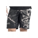 New Stylish Skull Printed Elastic Drawstring Waist Loose Sports Shorts