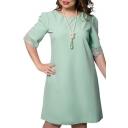 Fashion Graceful Lace Inserted Half Sleeve Round Neck Oversize Midi Swing Dress