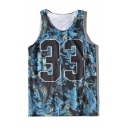 Casual Oversize Feather Printed Round Neck Sleeveless Unisex Sports Tank Tee
