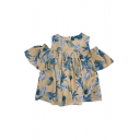 New Fashion Pineapple Pattern Round Neck Cold Shoulder Short Sleeve Pullover Blouse