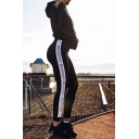 High Waist Letter Striped Side Casual Leisure Sports Pants