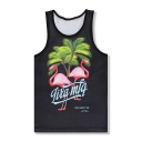 Summer's Flamingo Pattern Breathable Sports Round Neck Unisex Tank Tee