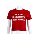 Summer's Hot Fashion Letter Printed Round Neck Short Sleeve Cropped T-Shirt