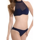 New Fashion Halter Neck Sheer Mesh Inserted Plain Fashion Swimwear