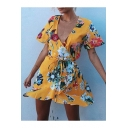Summer's Chic Floral Printed Wrap Plunge Neck Short Sleeve Mini A-Line Dress