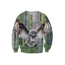 Cool Eagle Print Color Block Round Neck Pullover Sweatshirt