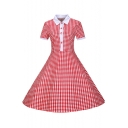 Lapel Collar Short Sleeve Classic Plaids Pattern Buttons Down Midi Flared Dress