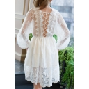 Chic Lace-Up Hollow Back Round Neck Long Sleeve Fashion Lace Midi A-Line Dress