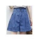New Stylish Plain High Rise Buttons Down Wide Legs Loose Denim Half Shorts