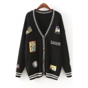 New Collection Cartoon Patchwork Long Sleeve V Neck Buttons Down Cardigan