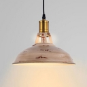 Industrial Hanging Pendant Light with Wood Pattern Shade, Mini Sized