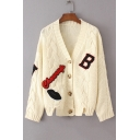 Letter Lip Patchwork Long Sleeve V Neck Buttons Down Casual Cardigan