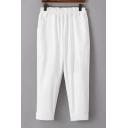 Basic Simple Elastic Waist Plain Loose Casual Leisure Tapered Pants