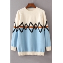 Color Block Geometric Pattern Long Sleeve Round Neck Pullover Sweater