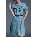 Chic Ruffle Short Sleeve Lapel Collar Floral Embroidered Buttons Down Midi Denim Shirt Dress