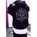 Street Style Long Sleeve Letter Pattern Back Casual Oversize Hoodie