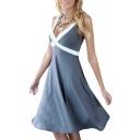 Sexy Plunge Neck Sleeveless Color Block Chic Midi A-Line Dress