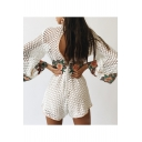Sexy Lace Hollow Out Open Back Round Neck Long Sleeve Chic Floral Embroidered Rompers