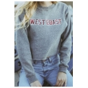 Simple Letter Printed Round Neck Long Sleeve Basic Pullover Crop Sweatshirt