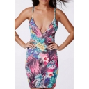 Sexy Plunge Neck Spaghetti Straps Floral Printed Mini Bodycon Slip Dress