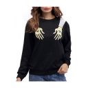 Hot Fashion Eyes Hands Pattern Round Neck Long Sleeve Casual Sweatshirt