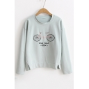 Fashion Bicycle Letter Embroidered Long Sleeve Round Neck Comfort Sweatshirt
