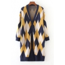 Fashion Diamond Geometric Printed Long Sleeve Buttons Down Longline Cardigan