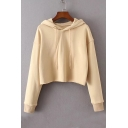 New Arrival Basic Simple Plain Long Sleeve Leisure Cropped Drawstring Hoodie