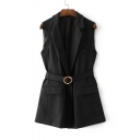 Notched Lapel Sleeveless Simple Plain Vest Coat with Buckle Waistband