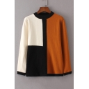 Fashion Color Block Long Sleeve Round Neck Comfort Knit Pullover Sweater