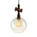 Industrial Water Valve Pendant Light in Antique Bronze Finish with Globe Glass Shade