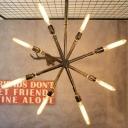 Industrial Cross Pipe Chandelier in Bronze Finish, 8 Lights